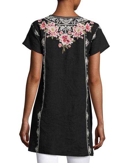 Christine Embroidered Linen Drape Top, Plus Size