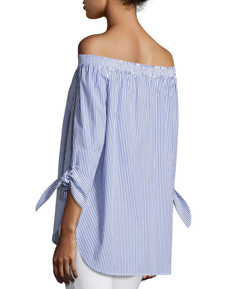 Jill Madison Striped Off-the-Shoulder Tie-Sleeve Blouse