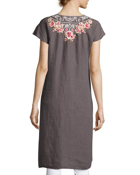 Christine Front-Slit Linen Dress, Gray