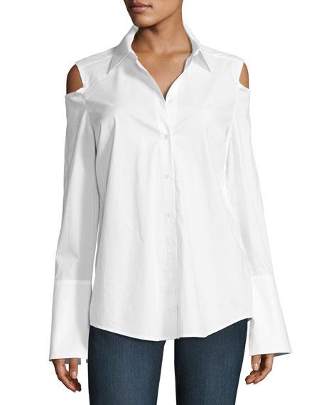 NYDJ Carlotta Cold-Shoulder Button-Front Blouse, White