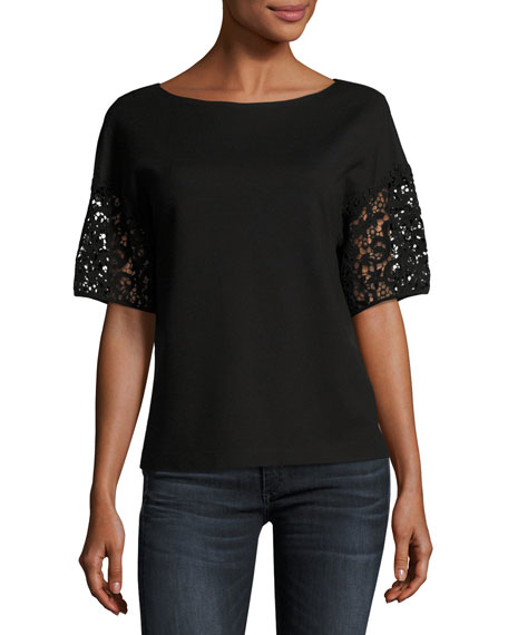 Lafayette 148 New York Lightweight Punto Milano Lace-Sleeve