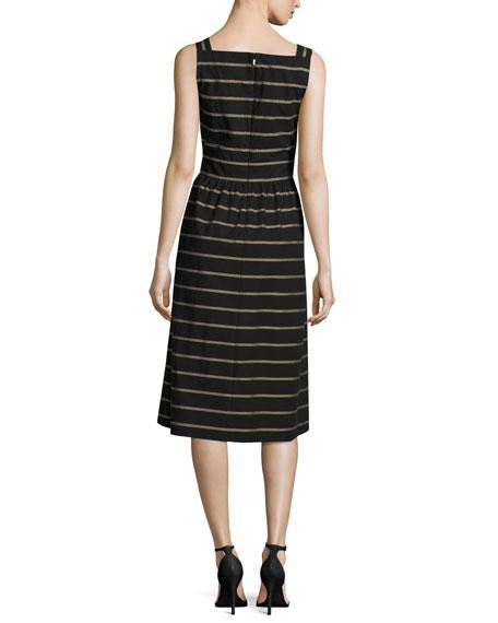 Lorelei Sleeveless Vesterbo Striped Cotton Dress, Black Multi