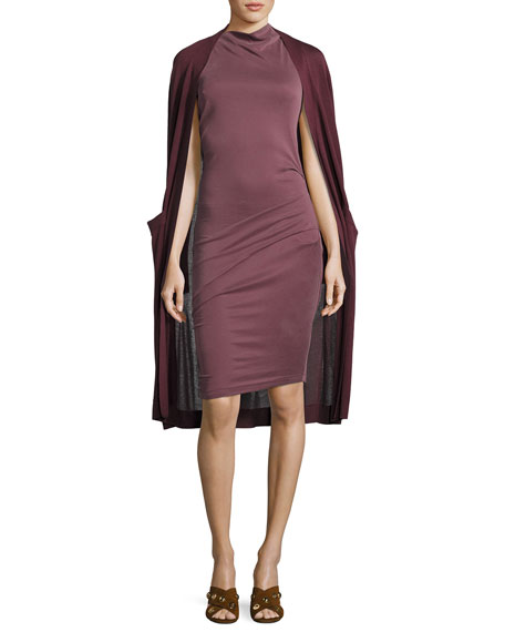 Sleeveless Mock-Neck Draped Jersey Dress, Sugar Plum