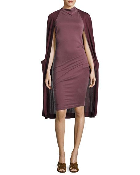 Sleeveless Mock-Neck Draped Jersey Dress, Sugar Plum