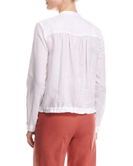 Minitivie Long-Sleeve Fine Linen Top, White