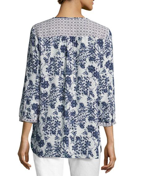 NYDJ 3/4-Sleeve Floral-Print Peasant Top