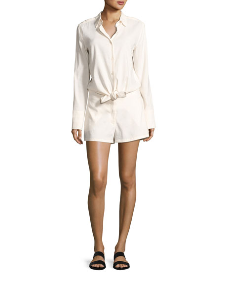 Theory Ranay Crunch Wash Long-Sleeve Romper, White
