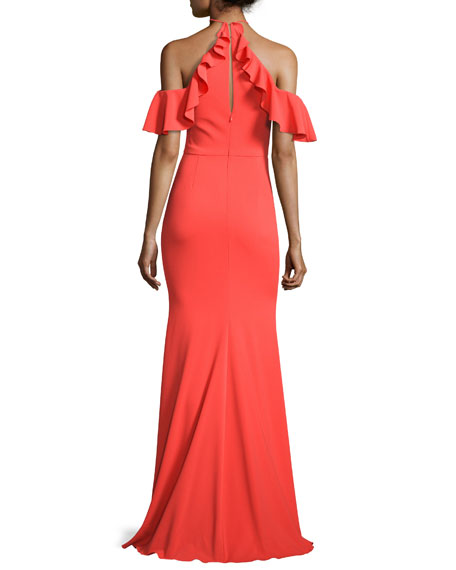 Cold-Shoulder Stretch Crepe Ruffle Gown, Tangerine