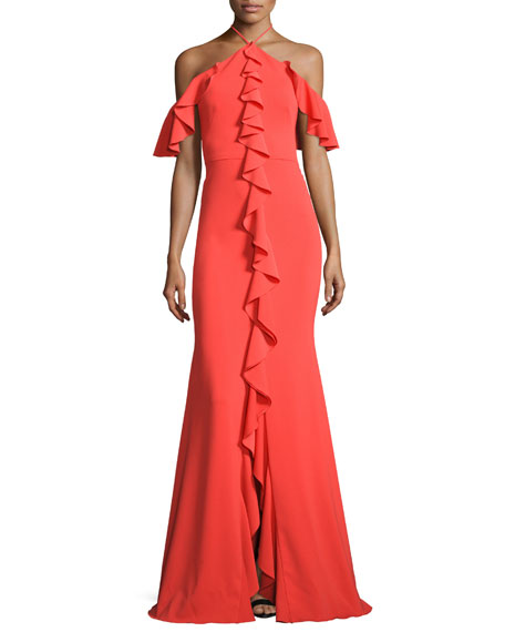 Marchesa Notte Cold-Shoulder Stretch Crepe Ruffle Gown, Tangerine