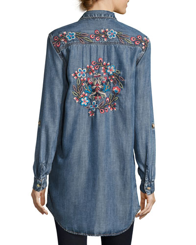 Tina Embroidered-Back Button-Front Shirt
