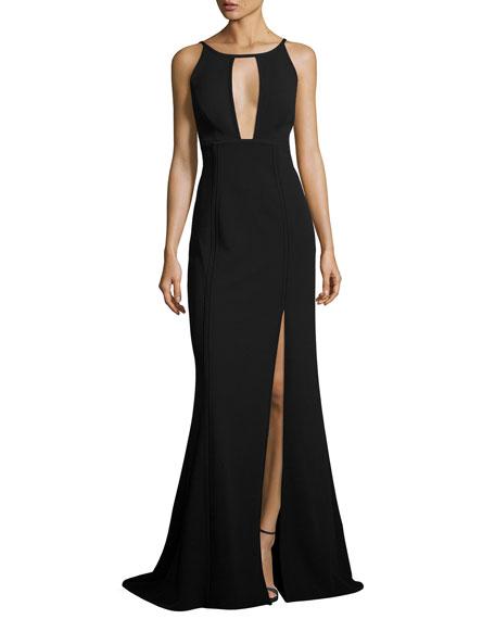 Aidan Mattox Sleeveless Paneled Ponte Gown, Black