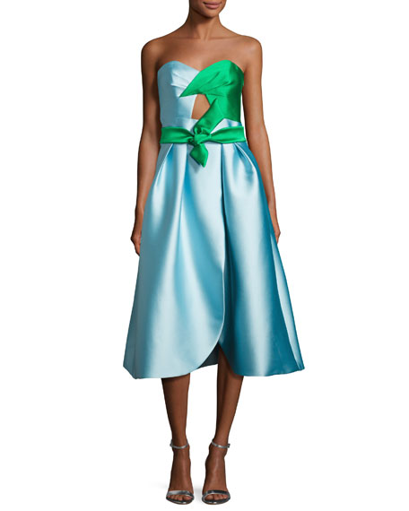 Milly Haley Strapless Double-Face Satin Cocktail Dress, Blue