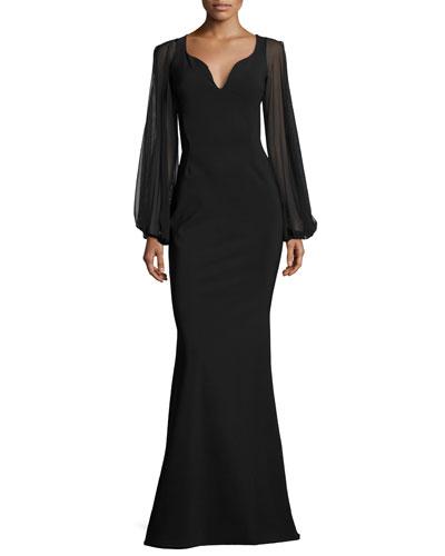 Dree Long-Sleeve Butterfly Mermaid Gown, Black