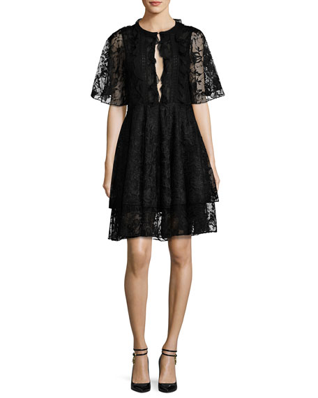 Short-Sleeve Tiered Lace Cocktail Dress, Jet