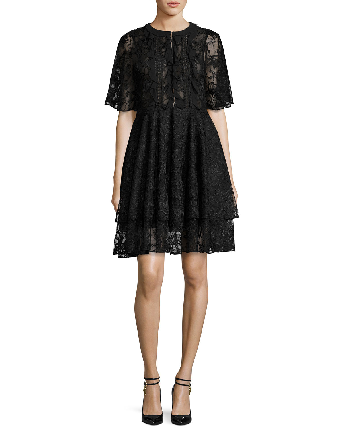 74fed3ef5c70 Sachin & Babi Short-Sleeve Tiered Lace Cocktail Dress, Jet | Neiman ...