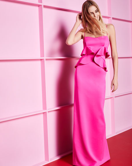 Delray Sleeveless Ruffle Scuba Gown, Iconic Pink