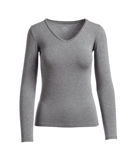 Image 3 of 3: Majestic Filatures Soft Touch Long-Sleeve V-Neck Tee