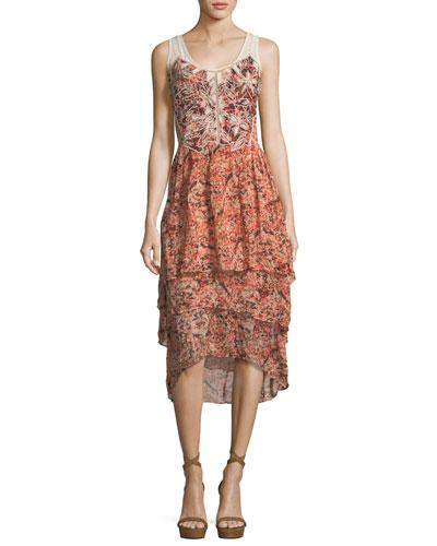 Jolene Floral-Print Layered High-Low Dress, Petal Multi