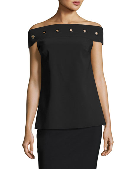 Chiara Boni La Petite Robe Carey Off-the-Shoulder Grommet