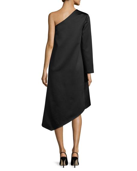 Idelle Asymmetric Satin Swing Dress, Black