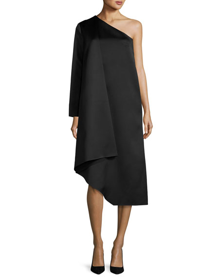Solace London Idelle Asymmetric Satin Swing Dress, Black