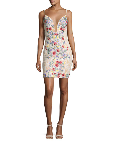 Jovani Sleeveless Backless Floral Cocktail Dress, Multicolor