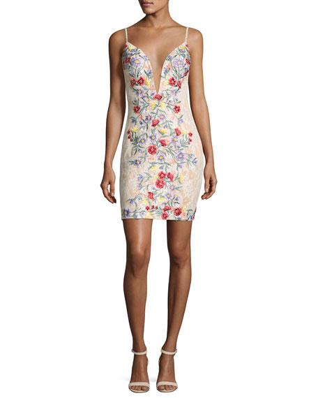 Jovani Sleeveless Backless Floral Cocktail Dress, Multicolor