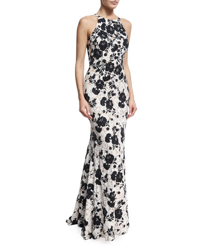 Embroidered Floral Lace Sleeveless Gown, Black/White