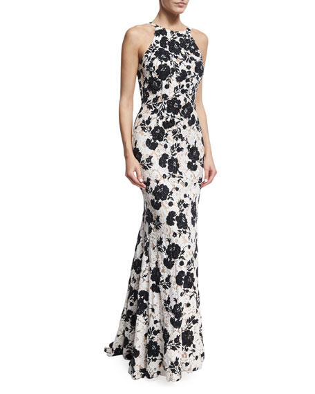 Jovani Embroidered Floral Lace Sleeveless Gown, Black/White