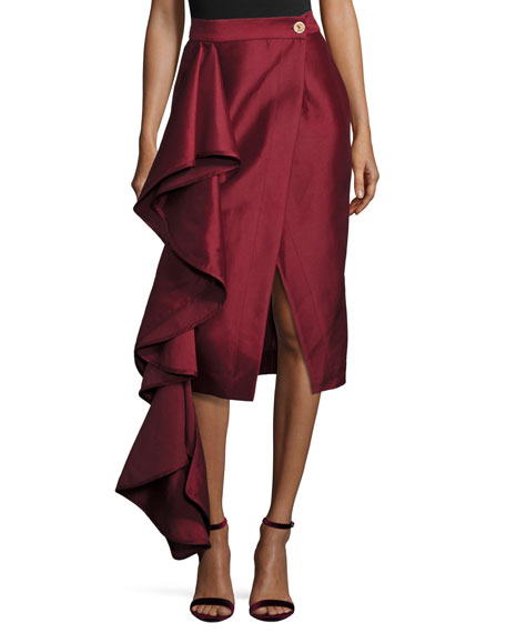 Solace London Aideen Cascade Ruffle Taffeta Skirt, Wine