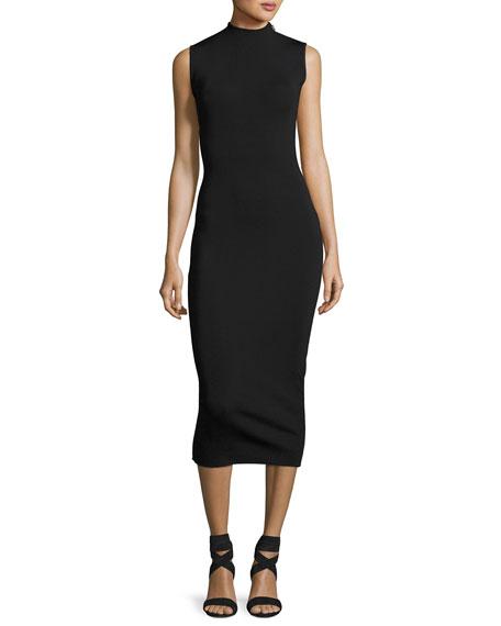 Alexis Sleeveless Open-Back Midi Dress, Black