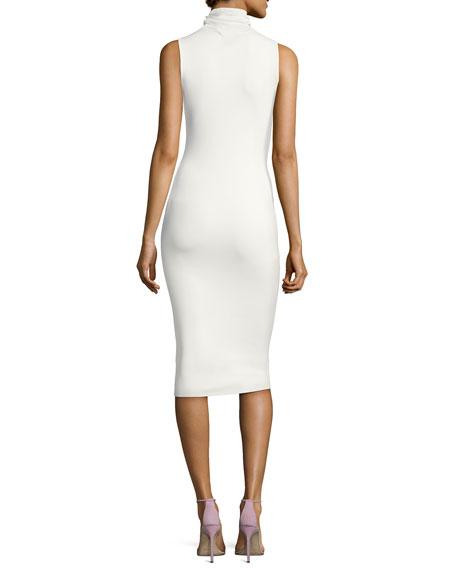 Leticia Sleeveless Ponte Midi Dress, Cream