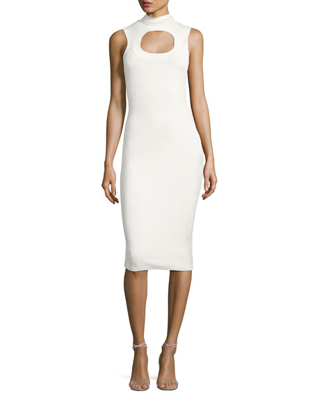 Solace London Leticia Sleeveless Ponte Midi Dress, Cream