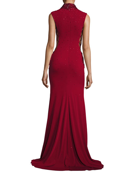 Sleeveless Beaded Laced Stretch Jersey Gown