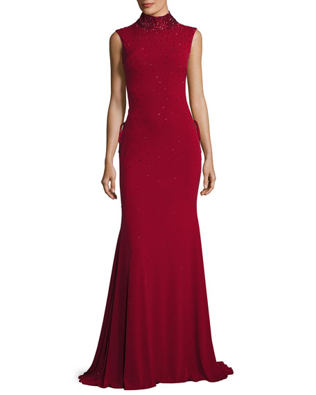 Jovani Sleeveless Beaded Laced Stretch Jersey Gown