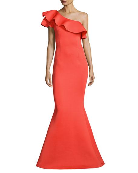 Jovani One-Shoulder Ruffle Mermaid Gown, Orange | Neiman Marcus