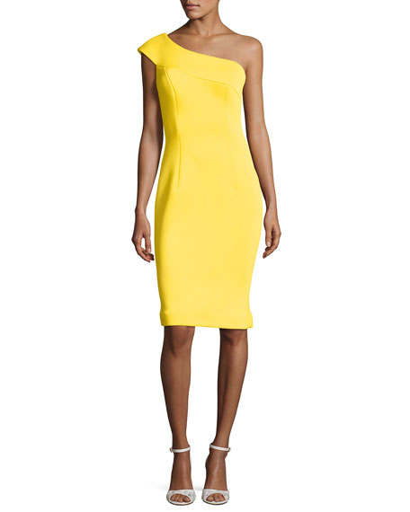 Jovani One Shoulder Scuba Cocktail Dress Yellow Neiman