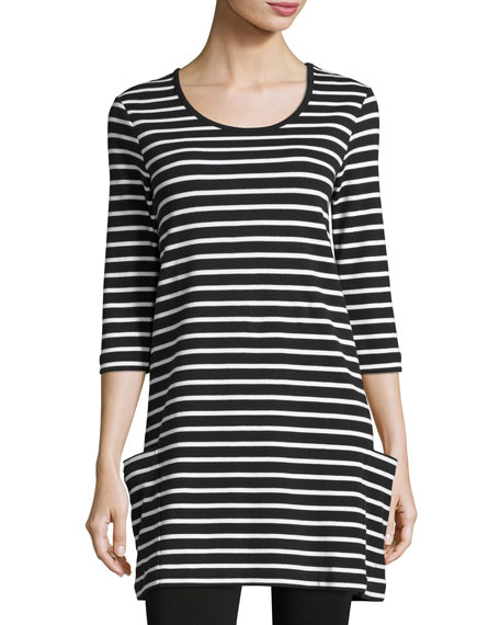 Joan Vass Striped Cotton Interlock Tunic, Black/White, Plus