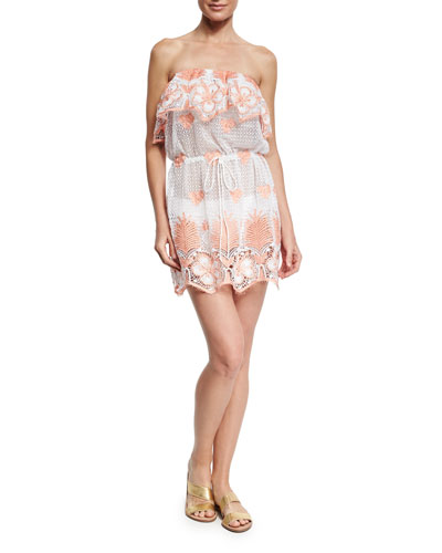 Dylan Tropical Lace Scallop Dress, White