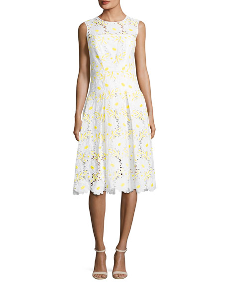 Milly Petal Eyelet A-Line Dress, Yellow