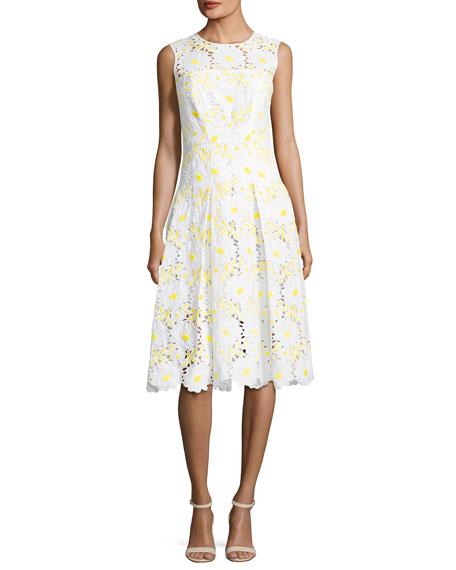 Milly Petal Eyelet A-Line Dress, Yellow
