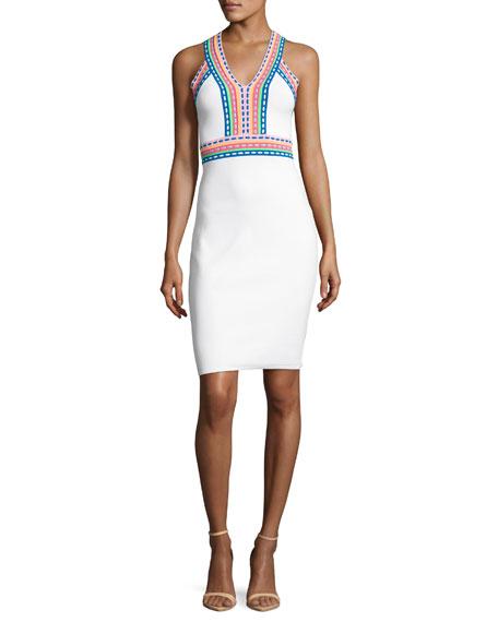 Milly Sleeveless Woven-Trim Sheath Dress, White