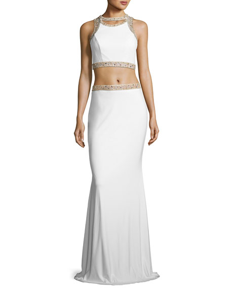Faviana Sleeveless Beaded Two-Piece Gown, White/Gold