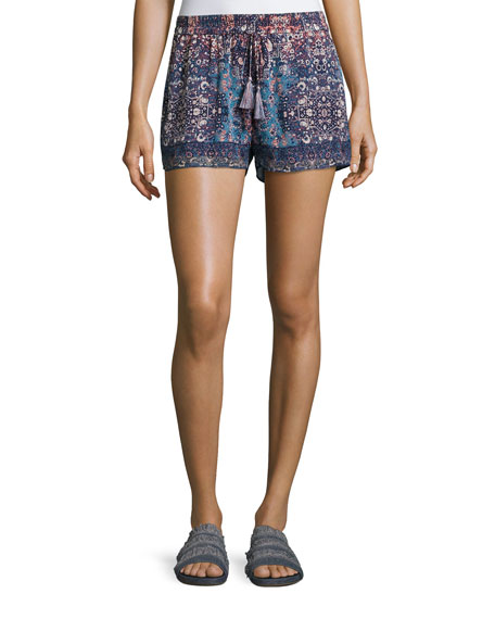 Lindee Printed Drawstring Silk Shorts, Blue