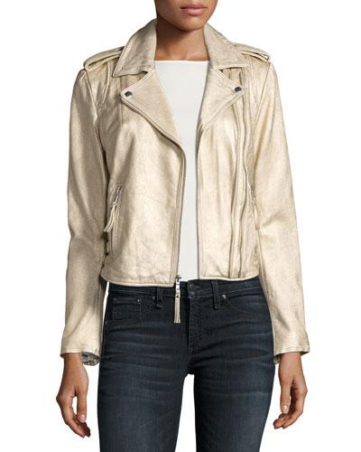 Leolani Metallic Leather Jacket, Gold