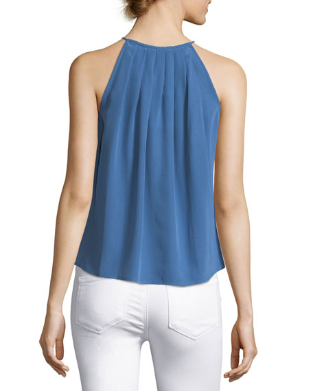 Amarey High-Neck Silk Tank
