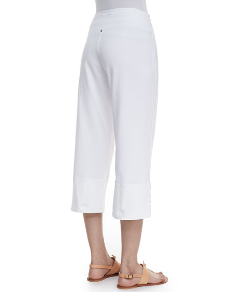 Seascape Button-Cuff Capri Pants, Plus Size