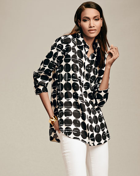 Plus Size Poplin Polka-Dot Print Dress Shirt