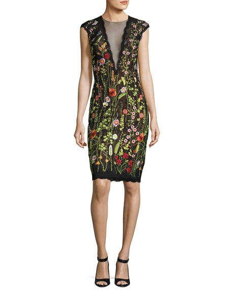 Jovani Cap-Sleeve Floral Open-Back Cocktail Dress, Multicolor