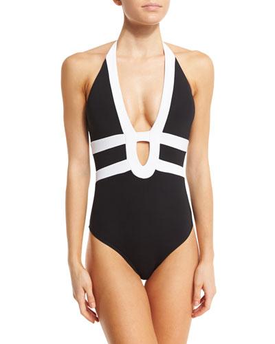 Classsique Contrast Halter One-Piece Swimsuit, Black